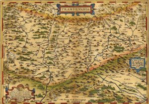 17025024-Antique-Map-of-Transylvania-Romania-by-Abraham-Ortelius-circa-1570--Stock-Photo